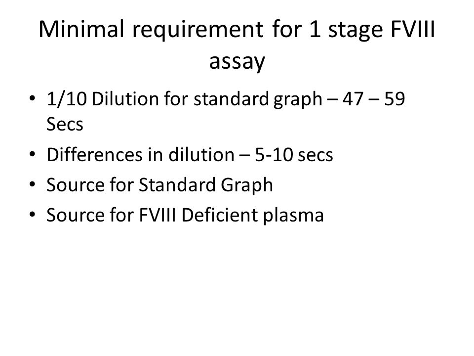 Minimal requirement for 1 stage FVIII assay