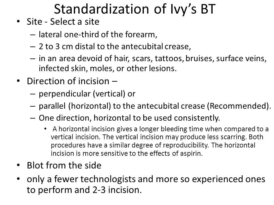 Standardization of Ivy's BT