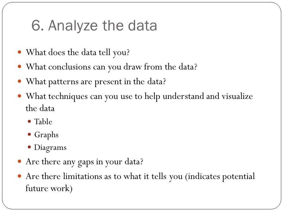 6. Analyze the data What does the data tell you