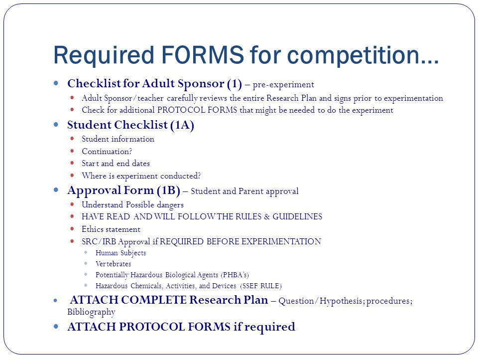 Required FORMS for competition…