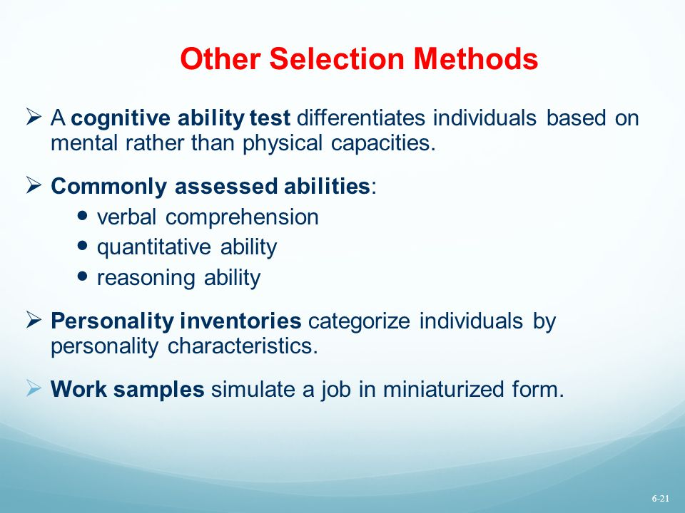Other Selection Methods