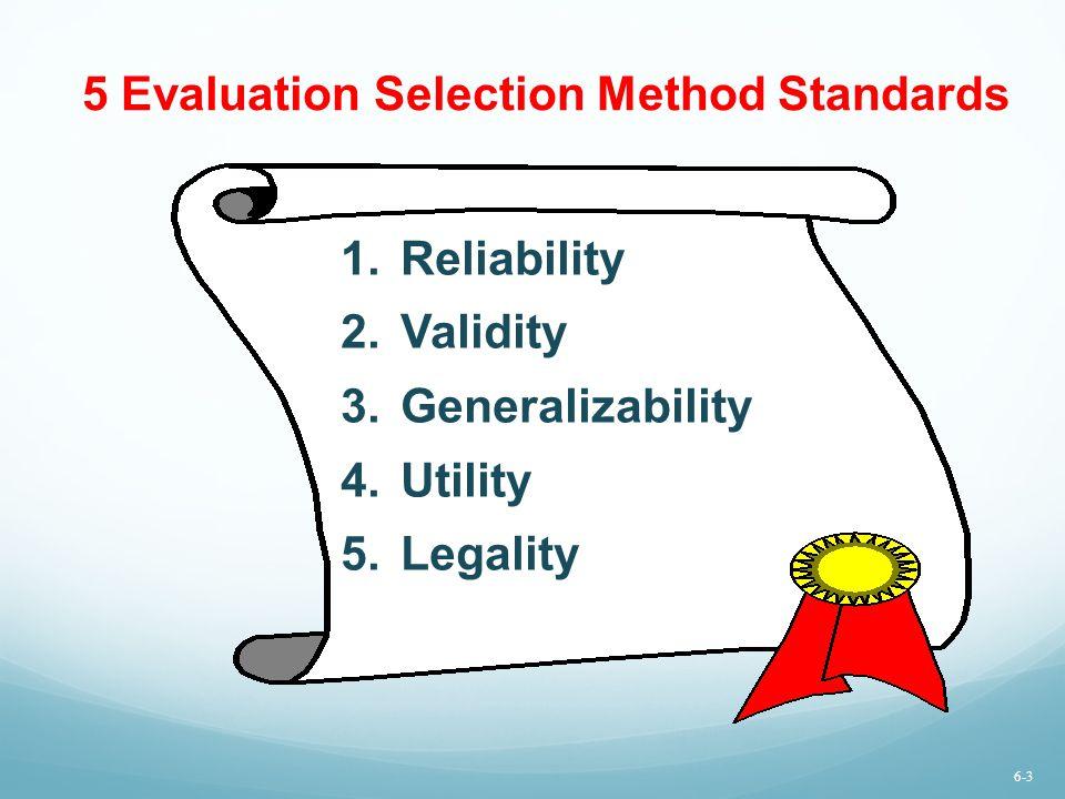 5 Evaluation Selection Method Standards