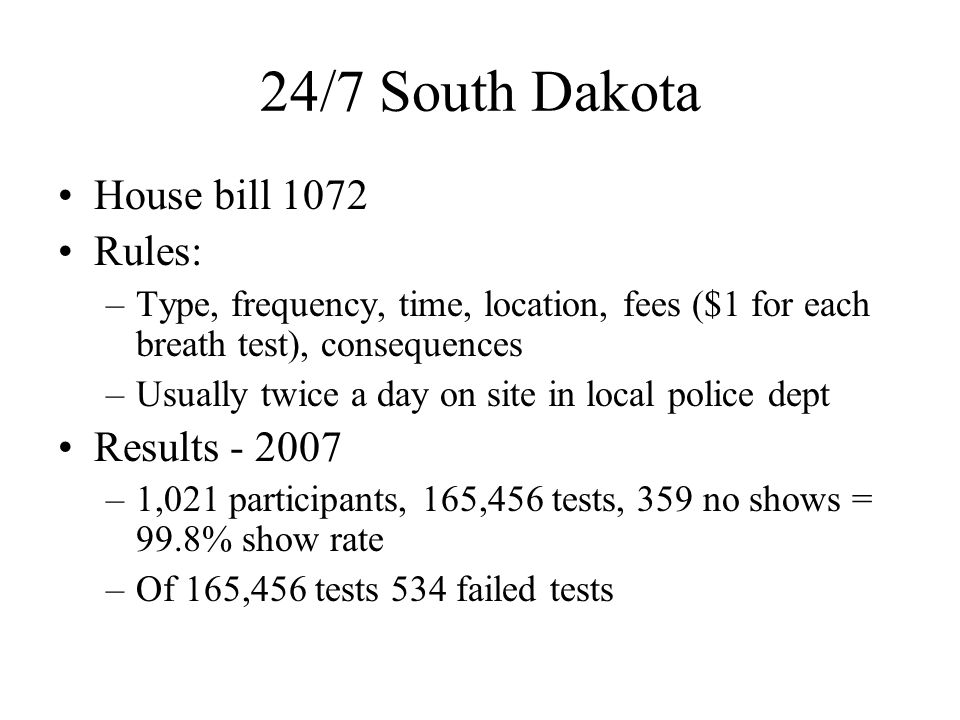 24/7 South Dakota House bill 1072 Rules: Results - 2007
