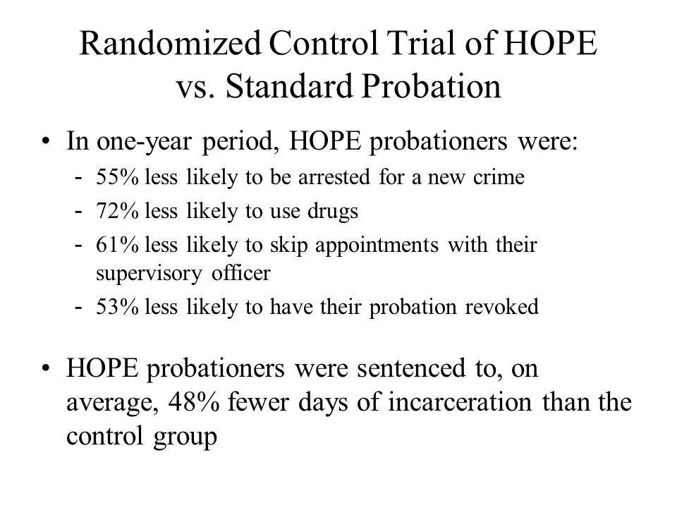 Randomized Control Trial of HOPE vs. Standard Probation