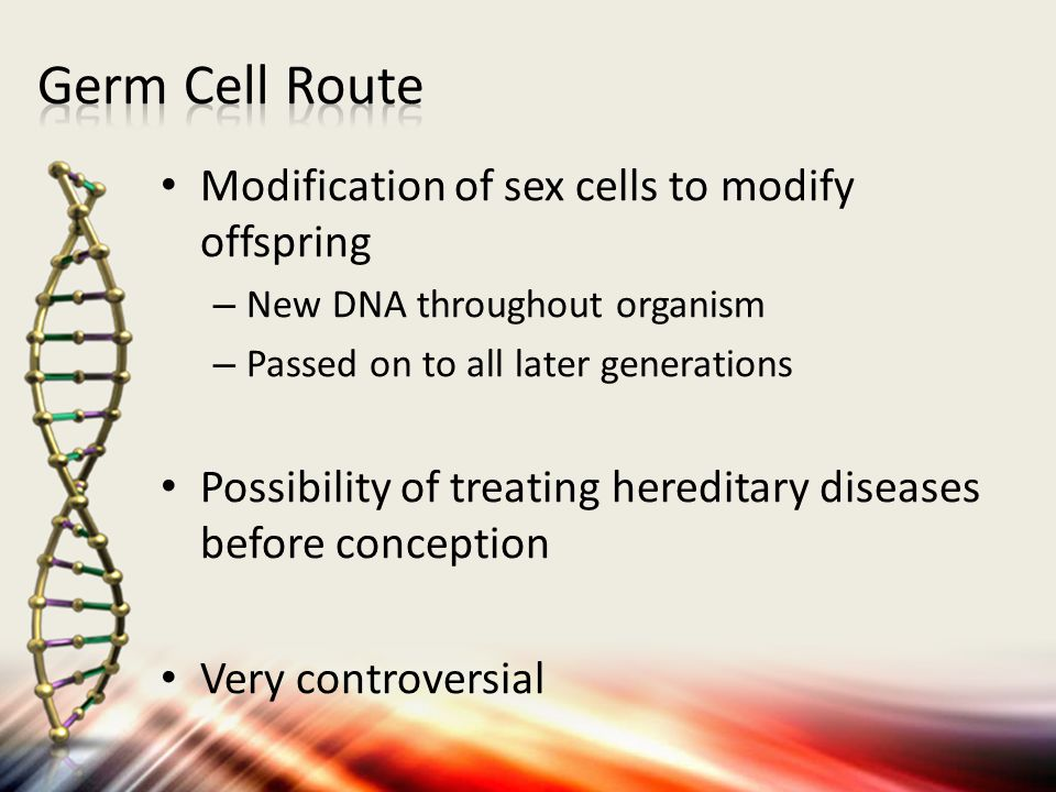 Germ Cell Route Modification of sex cells to modify offspring