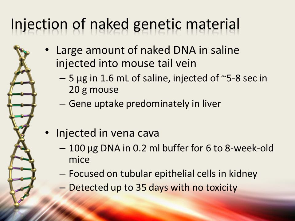 Injection of naked genetic material