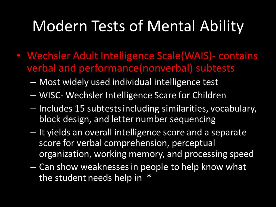 Modern Tests of Mental Ability