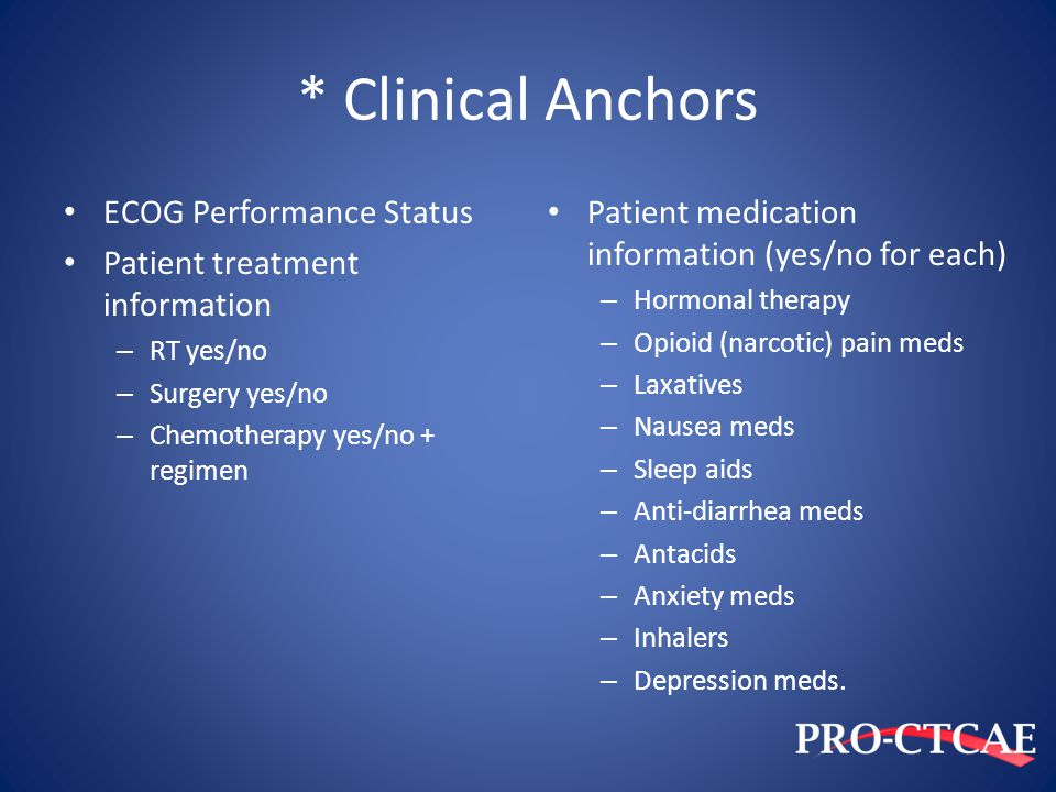 * Clinical Anchors ECOG Performance Status