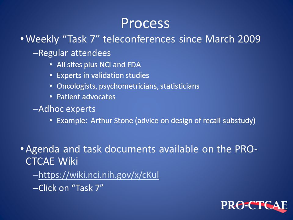 Process Weekly Task 7 teleconferences since March 2009