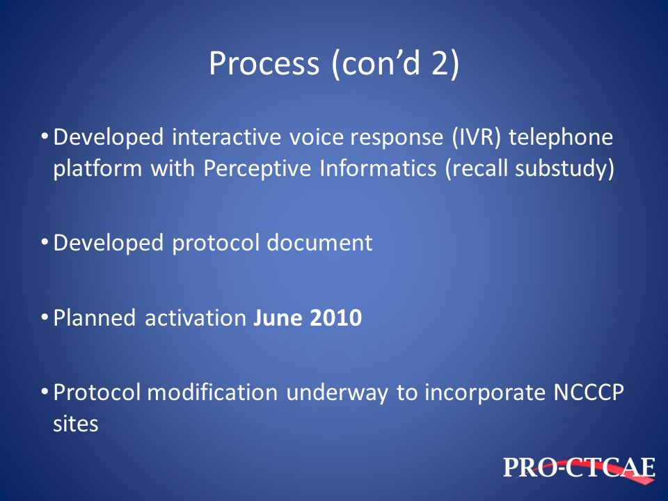 Process (con'd 2) Developed interactive voice response (IVR) telephone platform with Perceptive Informatics (recall substudy)