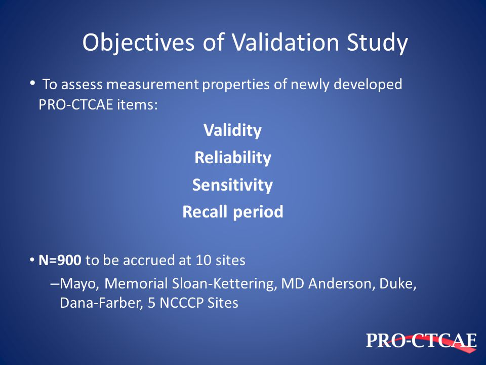 Objectives of Validation Study