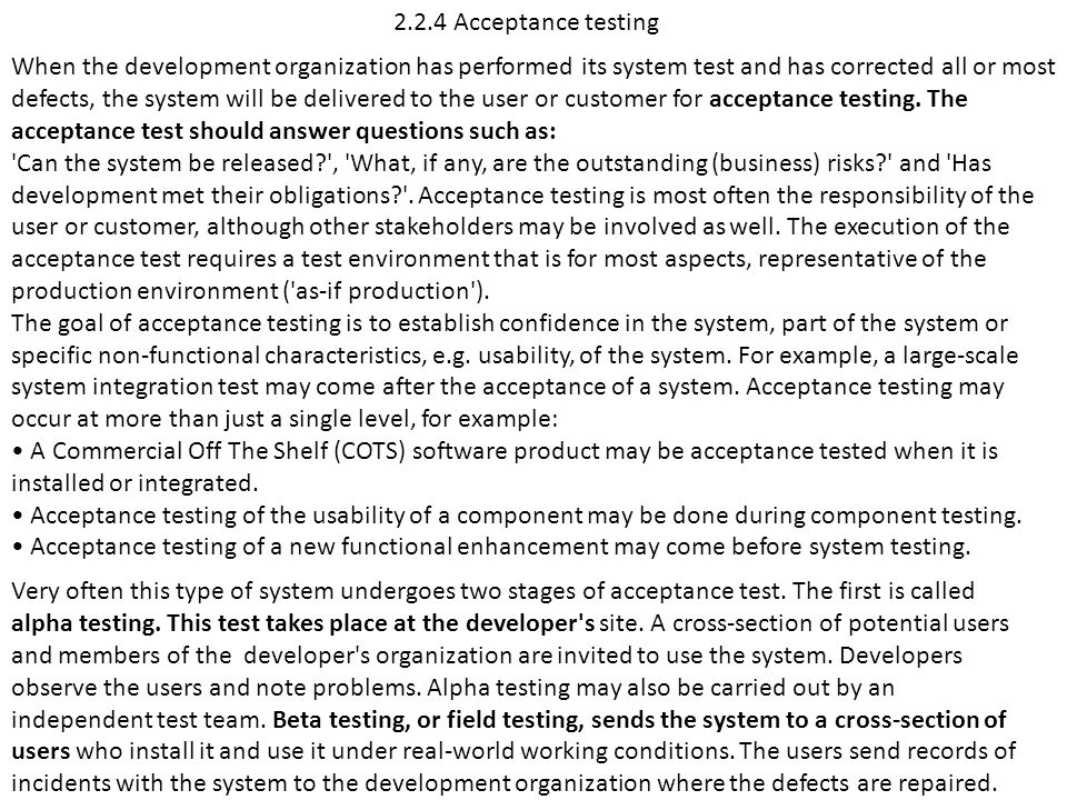 2.2.4 Acceptance testing