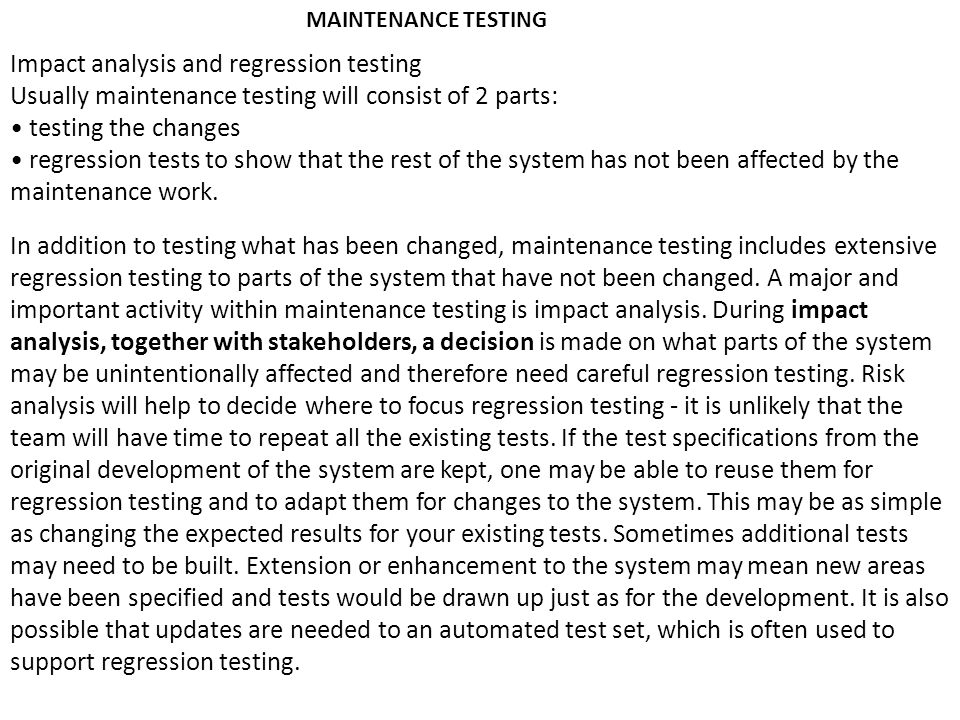 Impact analysis and regression testing