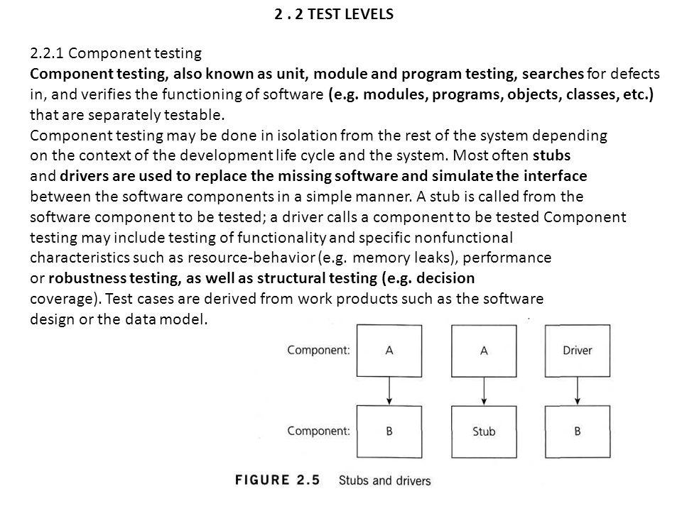 2 . 2 TEST LEVELS 2.2.1 Component testing.