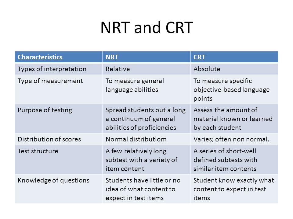 NRT and CRT Characteristics NRT CRT Types of interpretation Relative