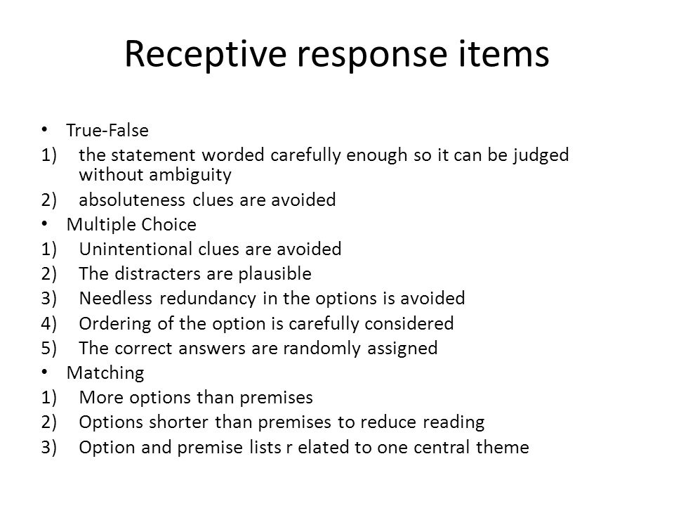 Receptive response items