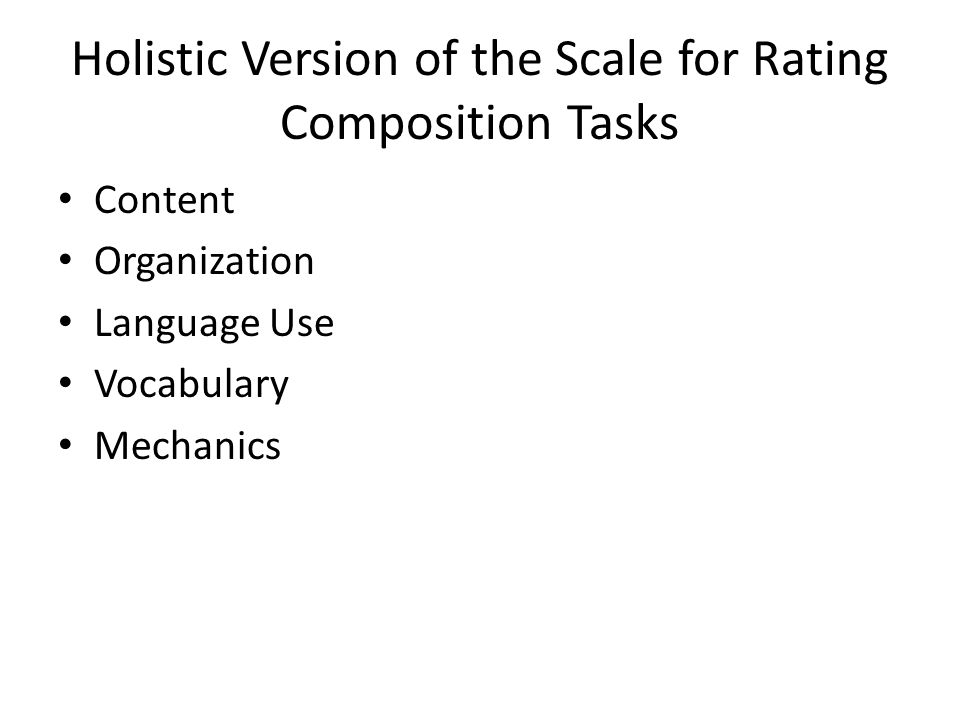 Holistic Version of the Scale for Rating Composition Tasks