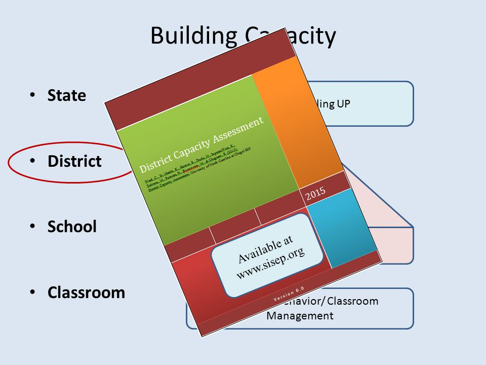 Building Capacity State District School Classroom SISEP and Scaling UP