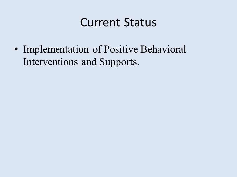 Current Status Implementation of Positive Behavioral Interventions and Supports.