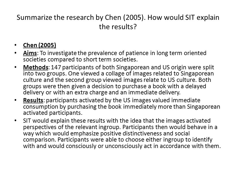 Summarize the research by Chen (2005)