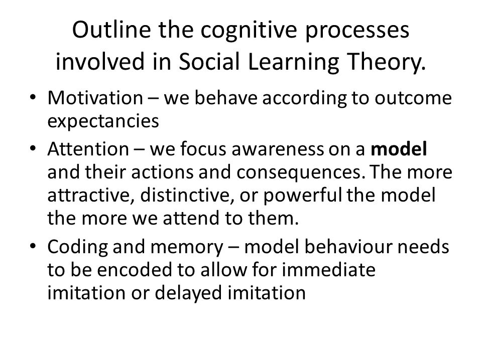 Outline the cognitive processes involved in Social Learning Theory.