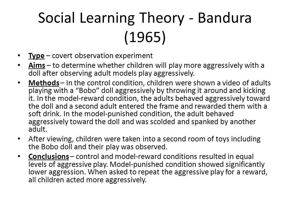 Social Learning Theory - Bandura (1965)