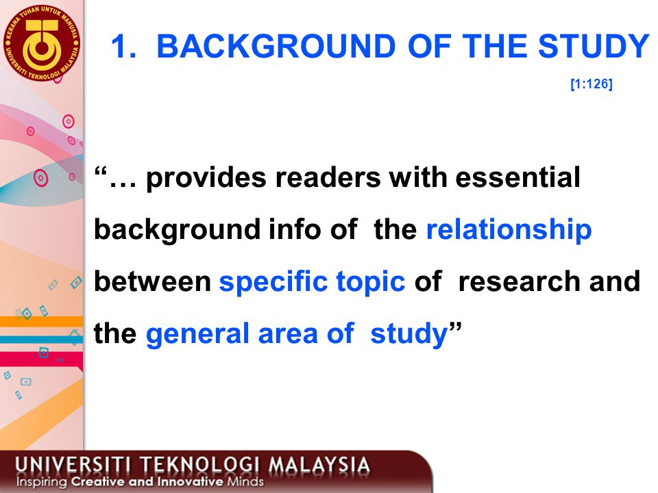 1. BACKGROUND OF THE STUDY