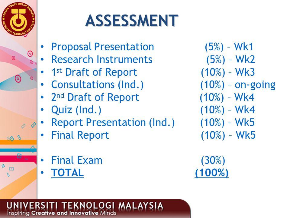 ASSESSMENT Proposal Presentation (5%) – Wk1