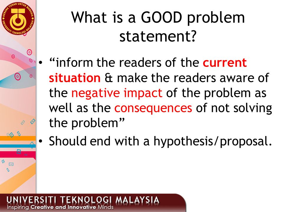 What is a GOOD problem statement