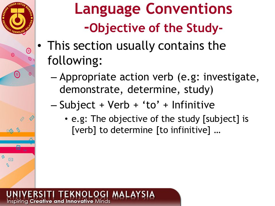 Language Conventions -Objective of the Study-