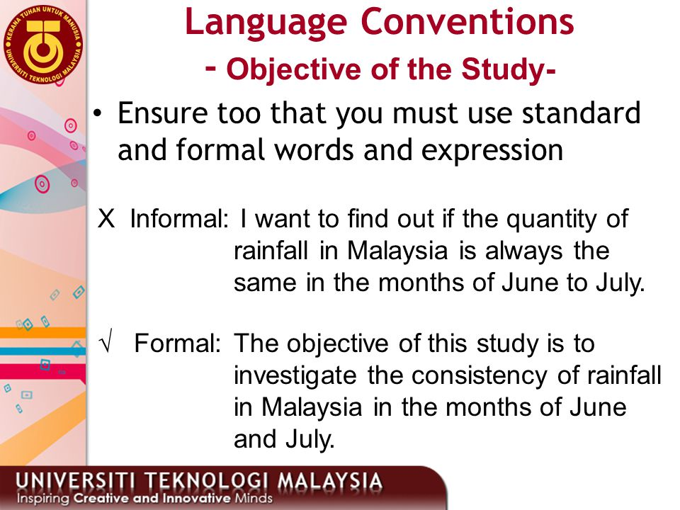Language Conventions - Objective of the Study-