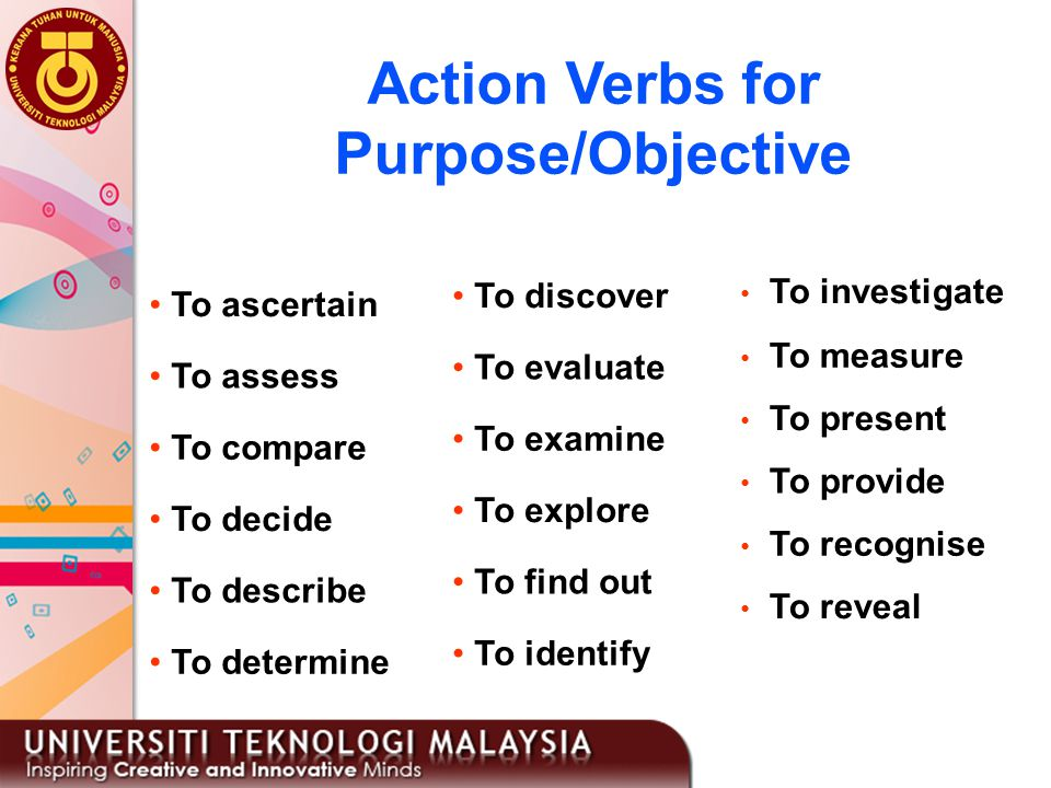 Action Verbs for Purpose/Objective