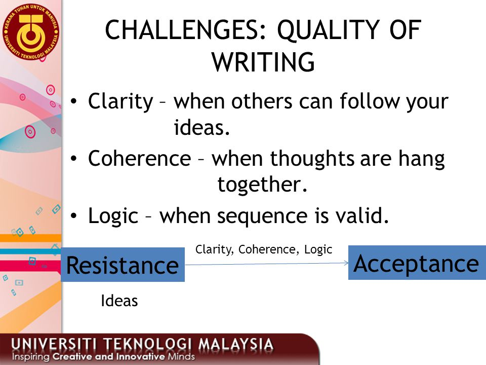 CHALLENGES: QUALITY OF WRITING
