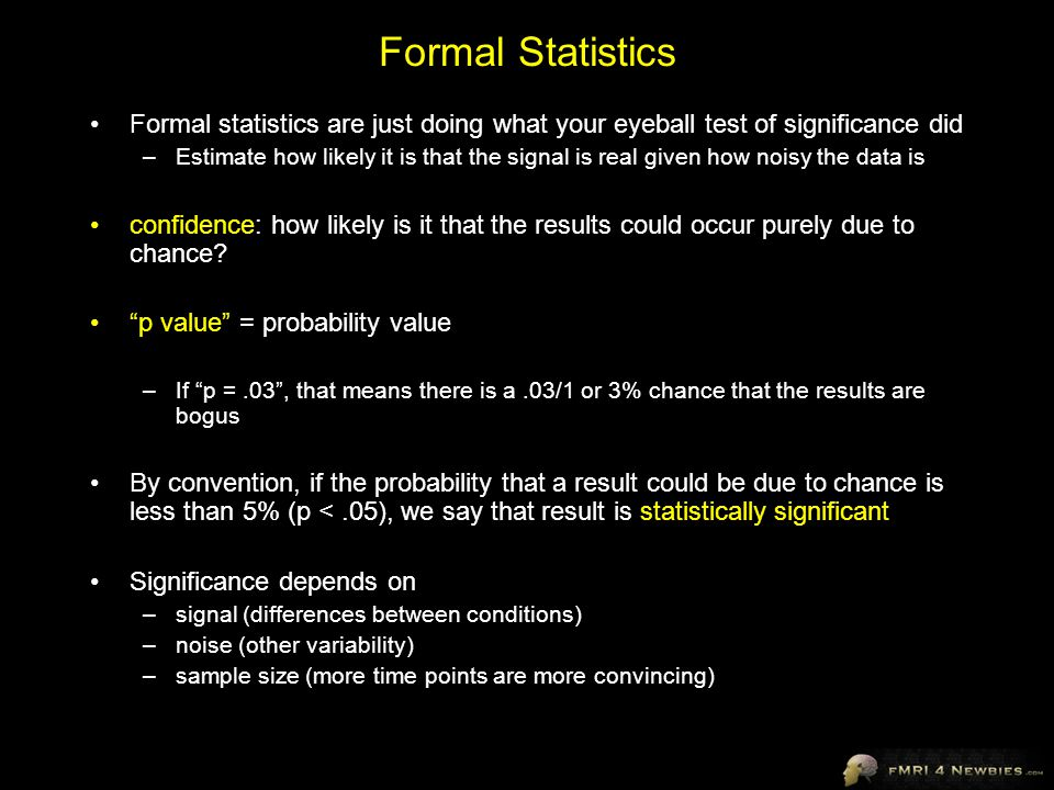 Formal Statistics Formal statistics are just doing what your eyeball test of significance did.