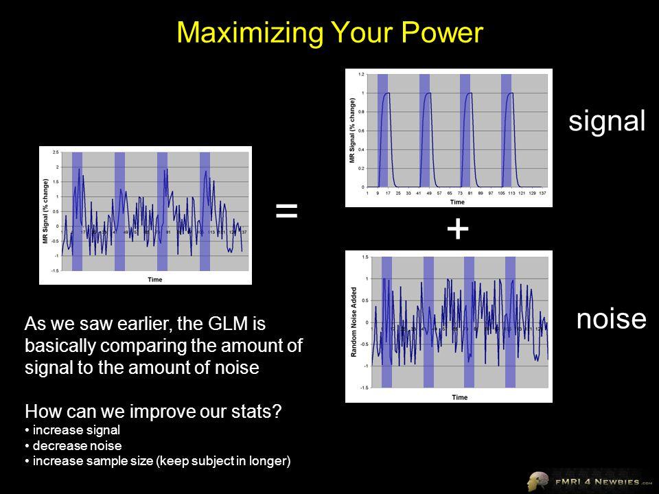 = + Maximizing Your Power signal noise