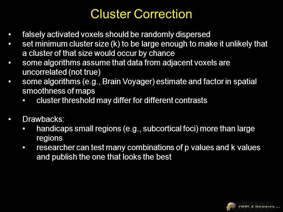 Cluster Correction falsely activated voxels should be randomly dispersed.