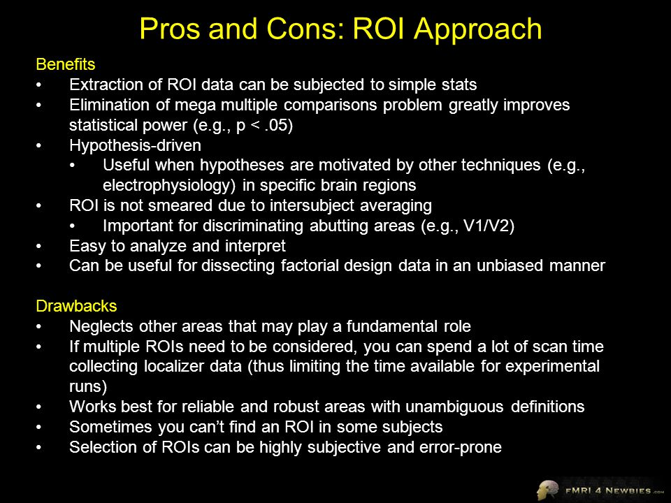 Pros and Cons: ROI Approach