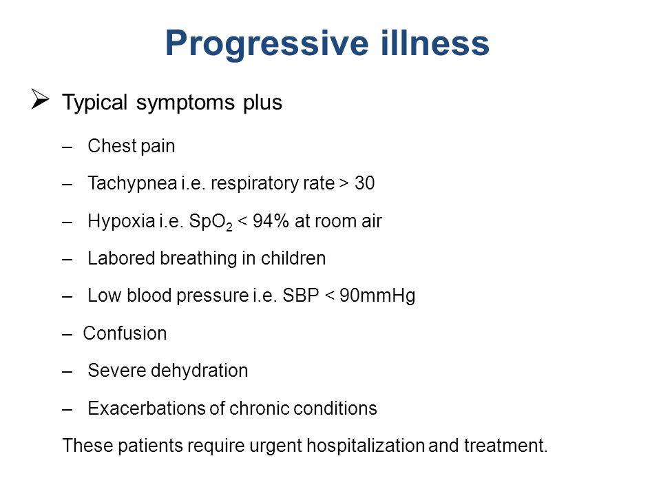 Progressive illness Typical symptoms plus Chest pain