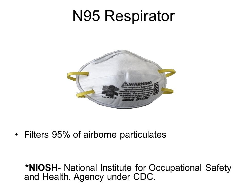 N95 Respirator Filters 95% of airborne particulates