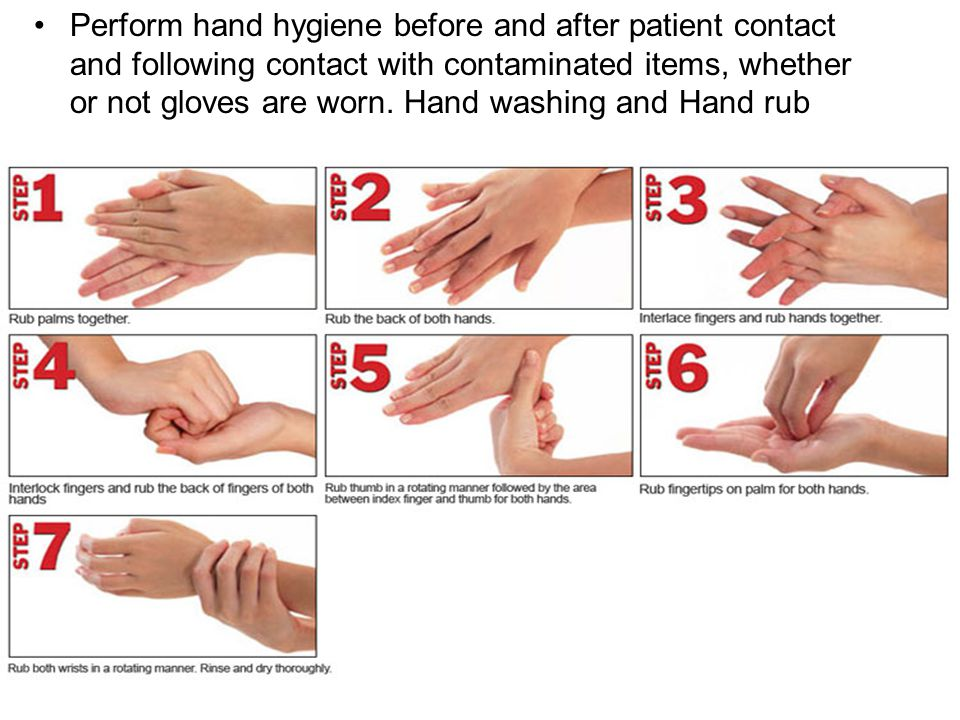 Perform hand hygiene before and after patient contact and following contact with contaminated items, whether or not gloves are worn.