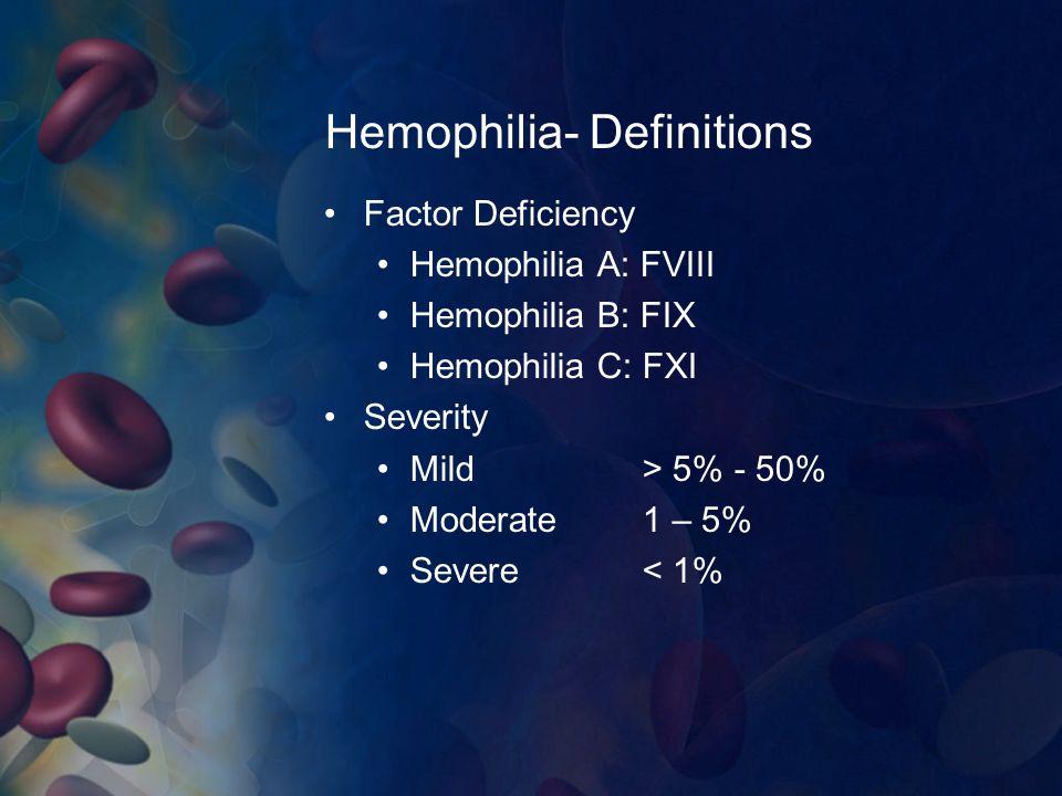 Hemophilia- Definitions
