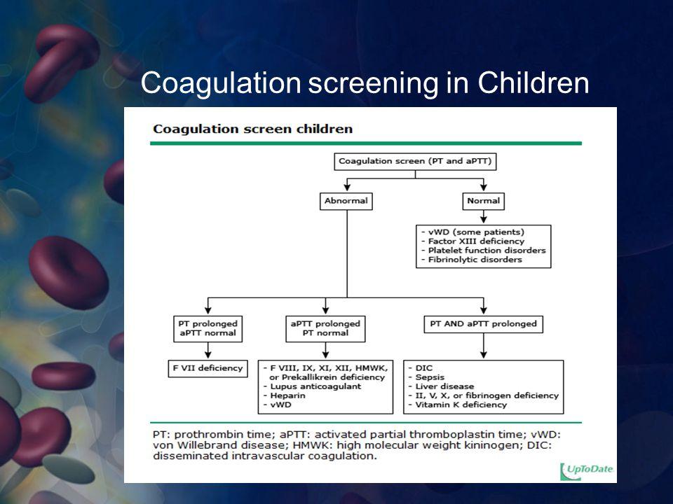 Coagulation screening in Children