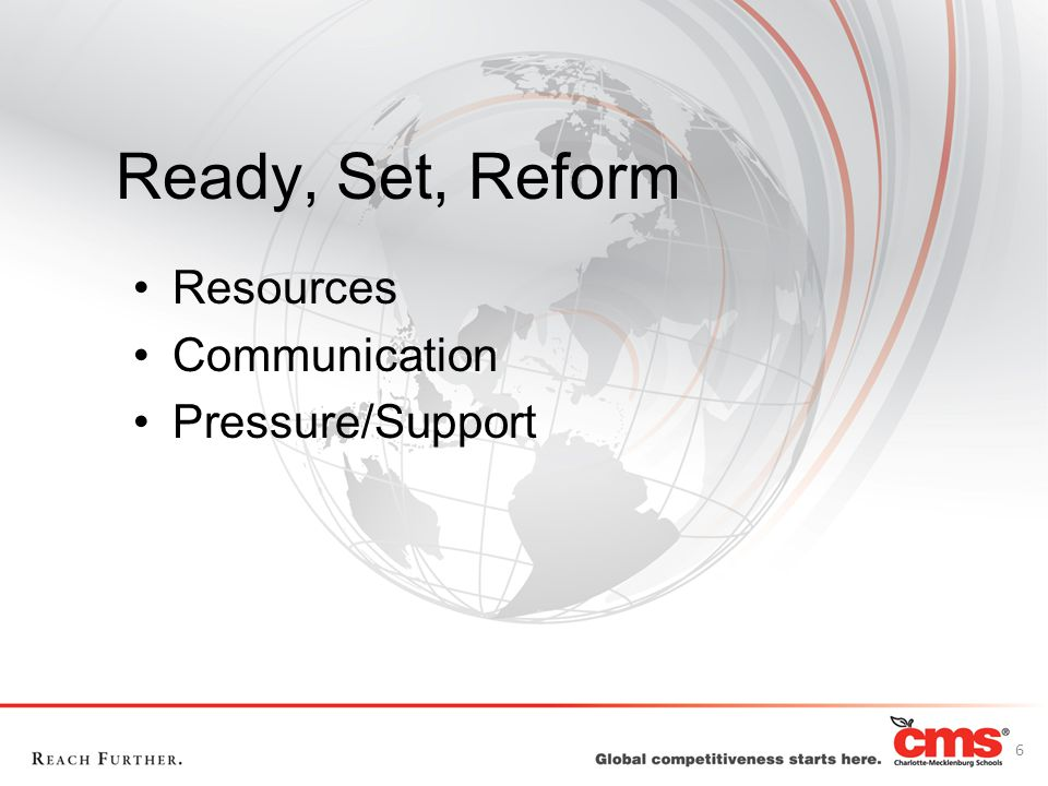 Ready, Set, Reform Resources Communication Pressure/Support 6