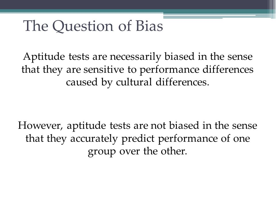 The Question of Bias
