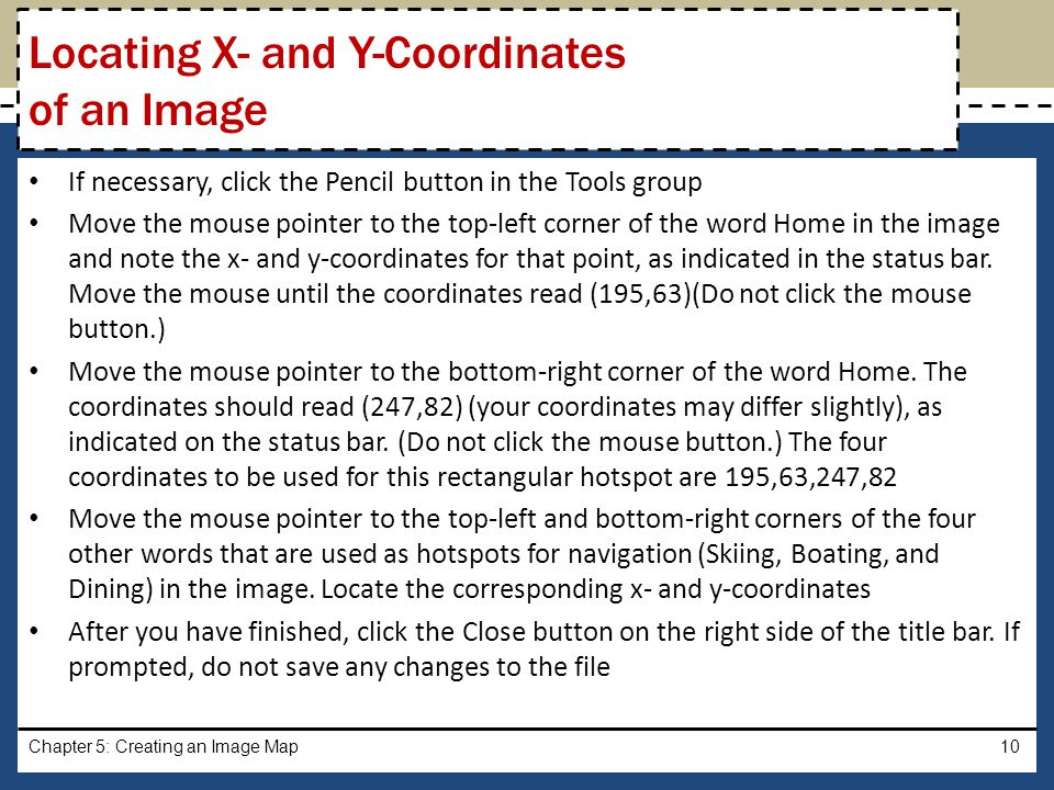 Locating X- and Y-Coordinates of an Image
