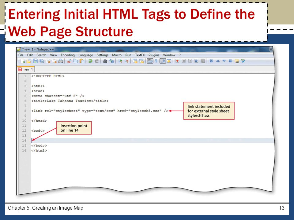 Entering Initial HTML Tags to Define the Web Page Structure