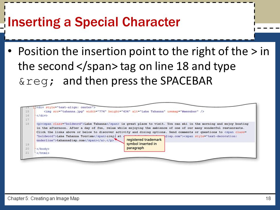 Inserting a Special Character