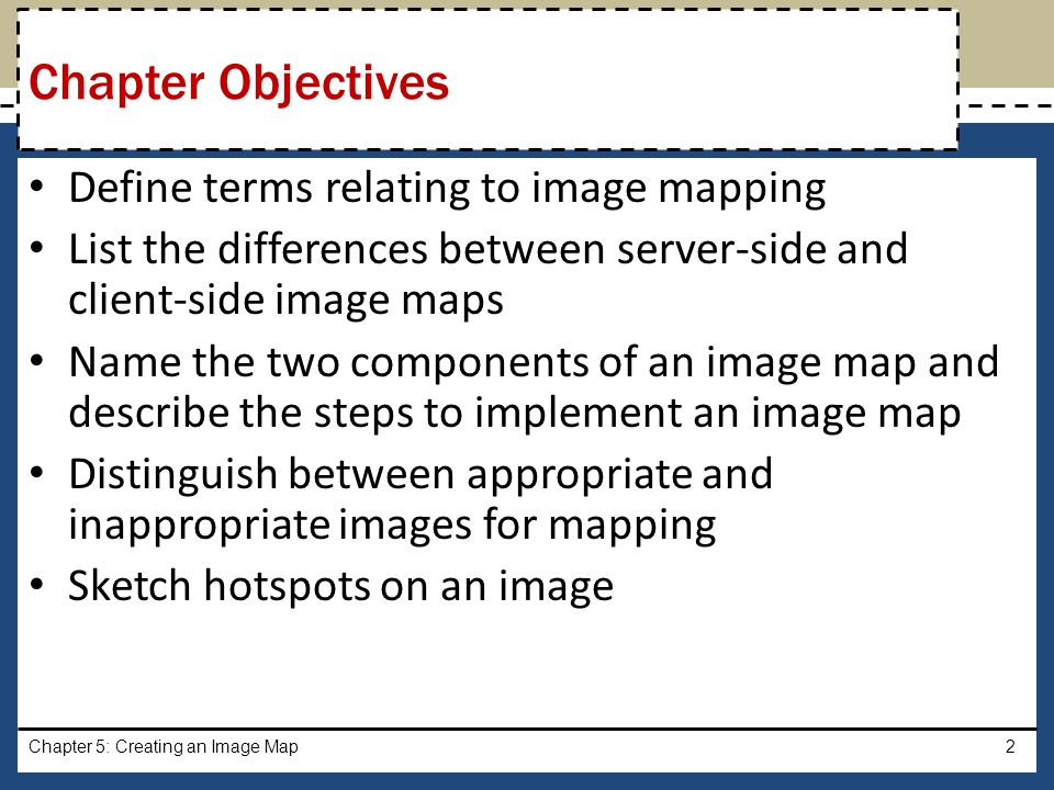 Chapter Objectives Define terms relating to image mapping