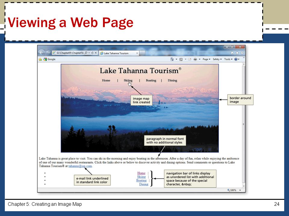 Viewing a Web Page Chapter 5: Creating an Image Map