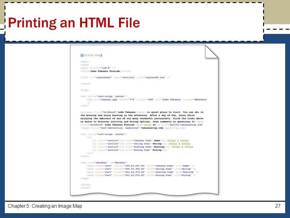 Printing an HTML File Chapter 5: Creating an Image Map